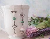 Silver Rose Turquoise Dragonfly Bird Asymmetrical Earrings Crystal Boho Gypsy 'Winged Dance'