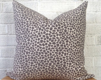 Grey Cream Animal Print Pillow Cover, velvet cheetah pillow
