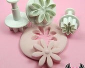 3 pc DAISY FLOWER Plunger Cutters, Fondant Mold Cookie Cutters, Sugarcraft Plunger Cutter, Polymer Clay Shape Cutter, USA Shipping