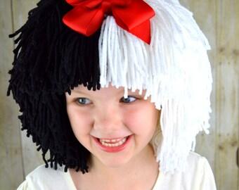 Cruella Deville Wig Halloween Costume for Girls, Black and White Wigs