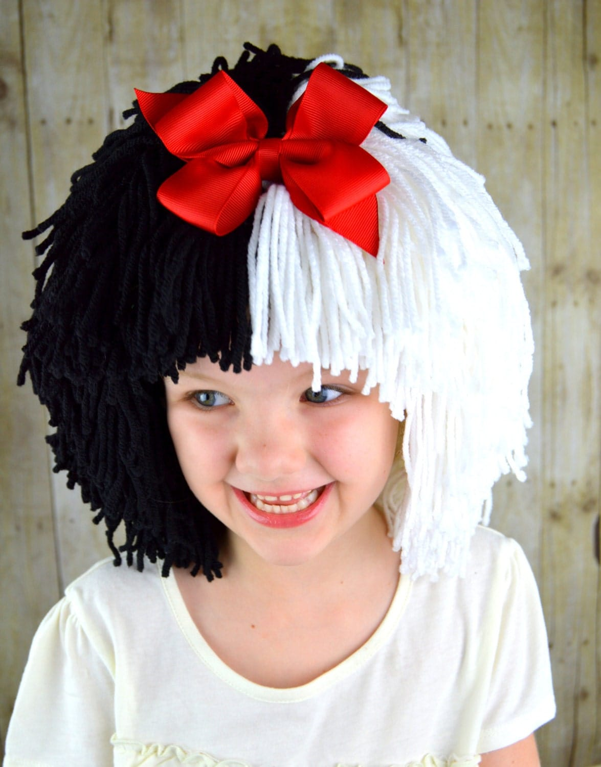 cruella deville wig halloween costume for girls black and. Black Bedroom Furniture Sets. Home Design Ideas