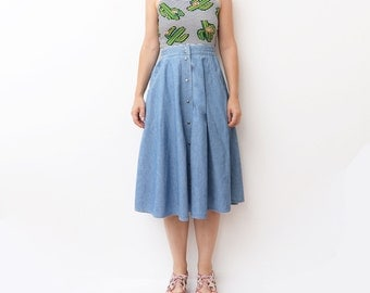 Vintage full circle button up midi blue denim skirt with pockets