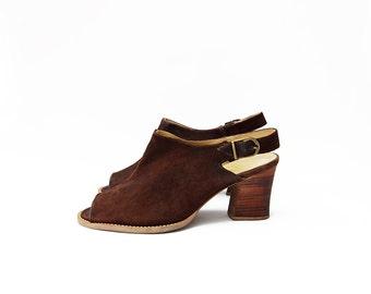Vintage suede brown peep toe heeled strap 90s mules