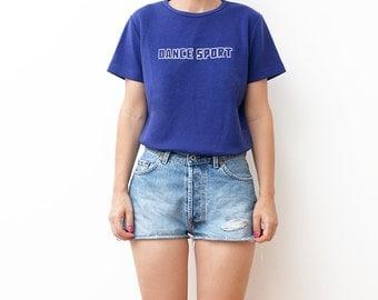 Vintage indigo blue Dance Sport women tshirt / small