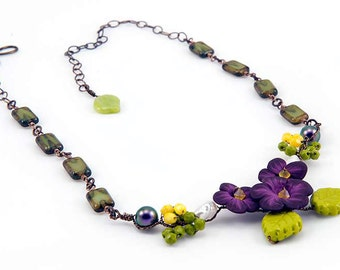 Purple Green Bib Necklace, Purple Flower Necklace, Polymer Clay Nature Necklace. Beaded Necklace, Rustic Wedding Necklace, CPJ Item N463