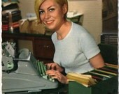 Postcard of Hermes Ambassador Typewriter with Pretty Girl