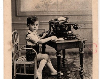 Postcard of Japy Typewriter with Cute Kid