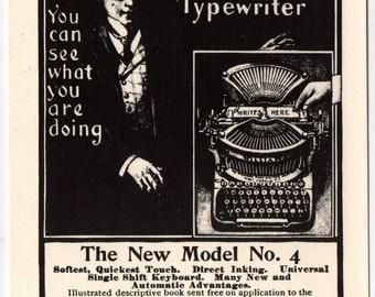 Postcard advertising Williams No.4 Typewriters