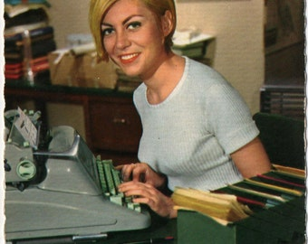 Postcard of Hermes Ambassador Typewriter with Pretty Girl