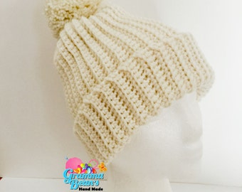 Ribbed Knit Look Beanie