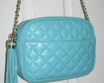 TEAL LEATHER TASSEL Purse // Gold Chain Link Strap Quilted Shoulder Bag 80's Preppy Aqua Blue 90's