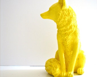 YELLOW Large Fox Animal Statue // cabin nursery kids room office gift for her him table top statue woodland nursery forest animal decor