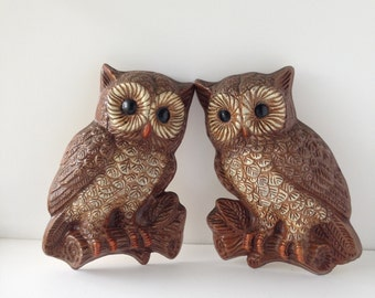Vintage Owl Wall Hangings, Set of two, 1970s 70s Wall Hangings, Owl Decor