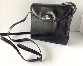 Vintage Italian Black Handbag, Vintage Black Italian Purse, Black Crossbody Handbag, Vintage Black Handbag, Made in Italy, Italian Handbag