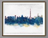Washington DC Skyline - Watercolor Art Print Poster - Housewarming, Home Decor, Wall Hanging, Art  Collectibles, Home Living Prints