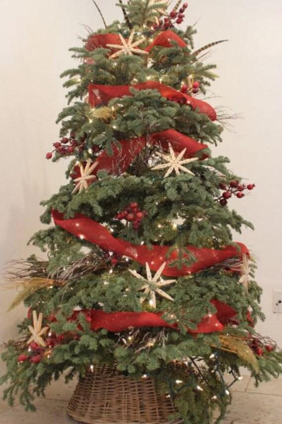 red burlap Christmas tree garland burlap decor tree garland