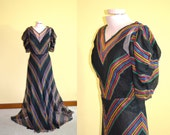 RESERVED 1930s Vintage Sheer Silk Chevron Dress with Black Slip size S bust 34