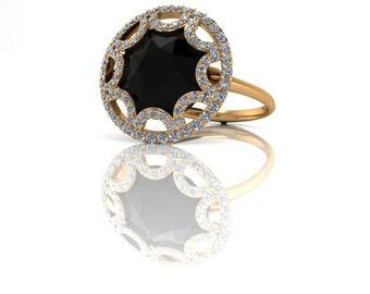 18K Gold Rose Cut Black Diamond Cocktail Ring ---or Plat---