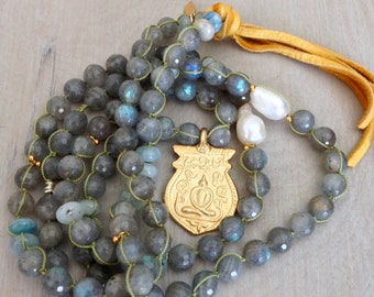 Hand Woven Faceted Labradorite Necklace with 18k over brass Buddha Pendant