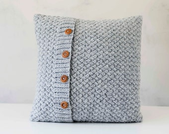 Knit pillow - grey knitted chunky pillow - scandinavian style knit pillow cover - hand knitted cushion case 0289