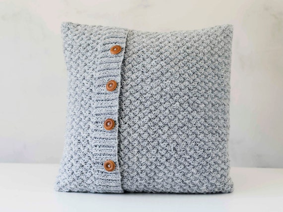 Chunky Knit Pillow Pattern : Knit pillow grey knitted chunky pillow scandinavian style