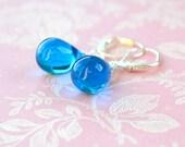 Sky Blue Earrings, Blue Bead Earrings, Blue Dangle Earrings, Capri Blue Teardrop Earrings, Silver Leverback Earrings, Blue Drop Earrings, UK