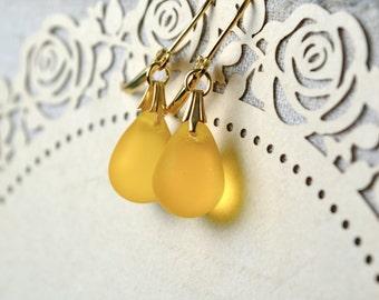 Bright Yellow Earrings, Yellow Teardrop Earrings, Gold Leverback Earrings, Frosted Glass Bead Earrings, Glass Drop Earrings UK, Yellow Gifts