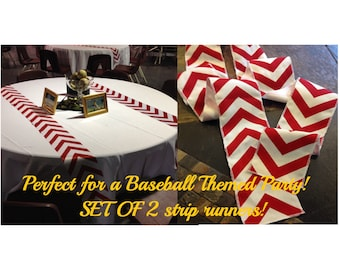 "Baseball Party Themed Red Chevron Modern Wedding Table Runner - set of 2 4"" wide by your choice of length Chevron - Wedding or Party runners"