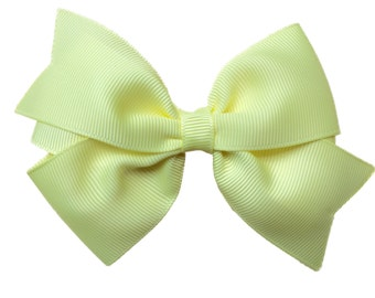 4 inch light yellow hair bow - light yellow bow