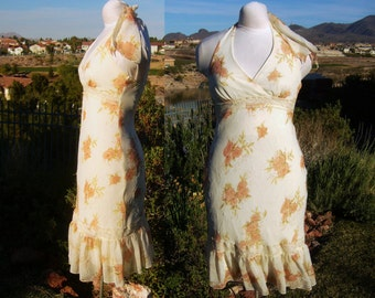 1970s-Early 1980s Vintage Flared Ecru Floral Halter Dress by Speechless, Sheer Overlay, Lace Insets, Gathered Flounce,100% Polyester, Size 5