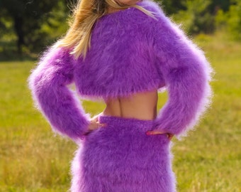 Made to order thick fuzzy hand knitted mohair sweater and skirt, fuzzy handmade set in purple by SuperTanya