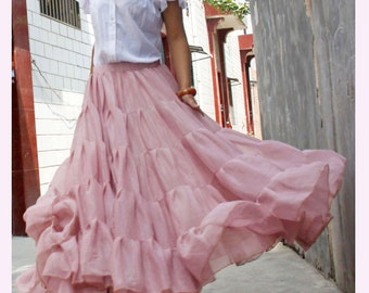 chiffon maxi skirt---golden pink skirt long skirt pleated skirt spring skirt