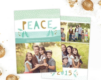Christmas Card Template for Photographers, Christmas Card Template for Photoshop, Holiday Card Templates, Gold Mint Watercolor HC283