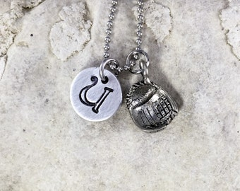 Charm Necklace - Baseball Necklace - Softball Necklace - Hand Stamped - Pewter Necklace