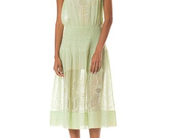 1920s Hand Embroidered Homespun Dress     Size: S-M