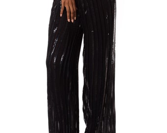 1990s Interestingly Pleated Silk Chiffon Pants    Size: S-L