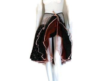 Crinoline Petticoat Skirt Black Satin Printed w/Pink Flowers