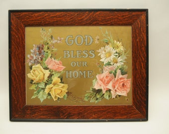 "Antique ""God Bless Our Home"" Print in Oak Frame"