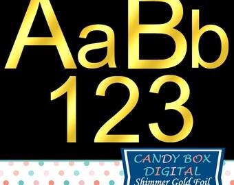 Shimmer Gold Foil Alphabet Clipart, Gold Alphabet Font Clip Art - Commercial Use OK