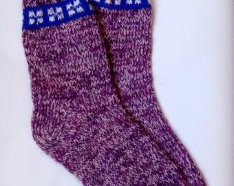Hand Knitted Wool Socks -Colorful Socks for Women -Wool Socks Size Large-US W9,5/EU41