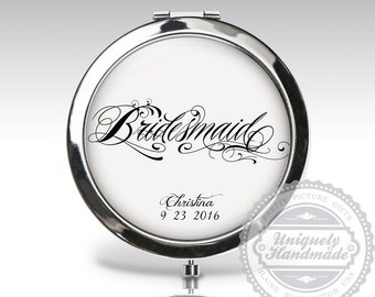 Bridesmaids Gift, Wedding Gift, Compact Mirror, Bridal Party Gift, Personalized Custom Gift, Bride Compact Mirror, Wedding Party Gift C79