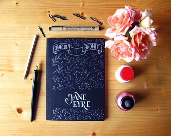 Jane Eyre black notebook hand painted, Charlotte Bronte, A5
