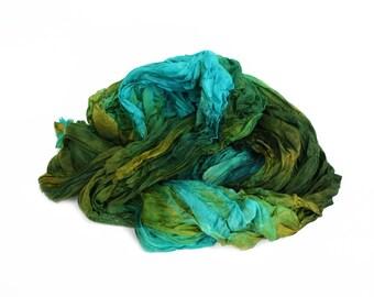 turquoise silk scarf, silk scarf - Lagoon -  blue, green,olive, turquoise silk scarf.