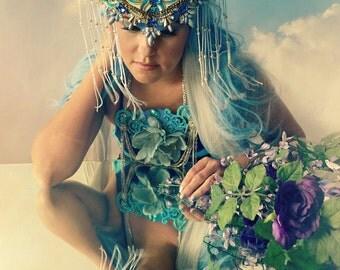 Wing Grecian GoddessArt Nouveau fascinator handmade headpiece necklace accessory crown headdress hat high fashion crown