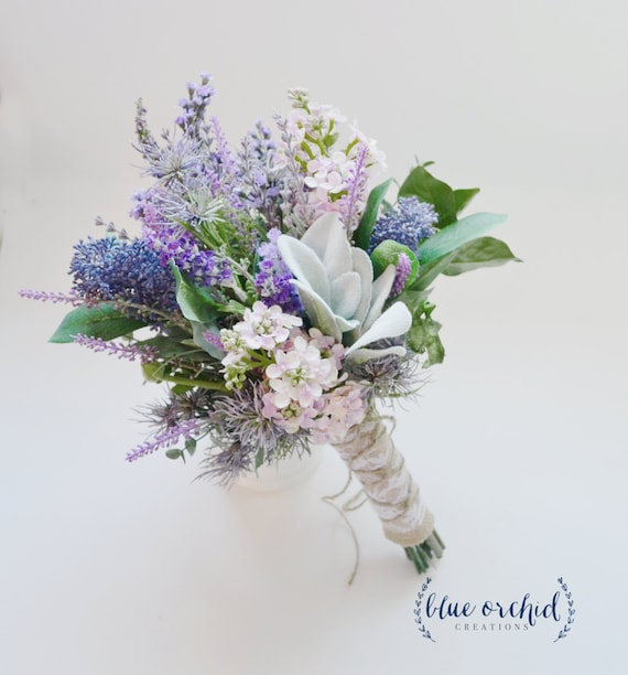 Wild Flower Wedding Bouquet: Lavender And Lilac Wildflower Bouquet With Lamb's Ear