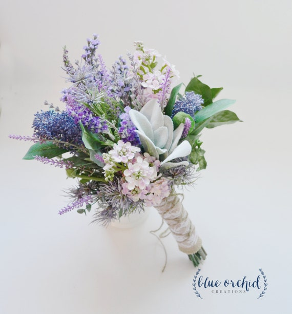 Wild Flowers For Weddings: Lavender And Lilac Wildflower Bouquet With Lamb's Ear
