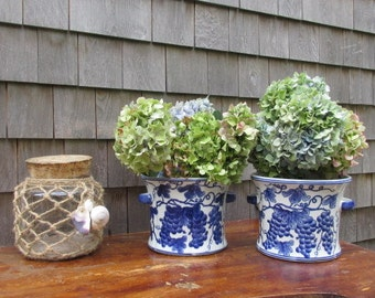 Pair of Vintage Blue and White Cache Pot / Planters 2