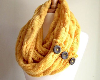 Infinity Loop Scarf Braided Cable Knit Neckwarmer Circle Scarves with Buttons Mustard Gold Yellow Women Girls Accessories