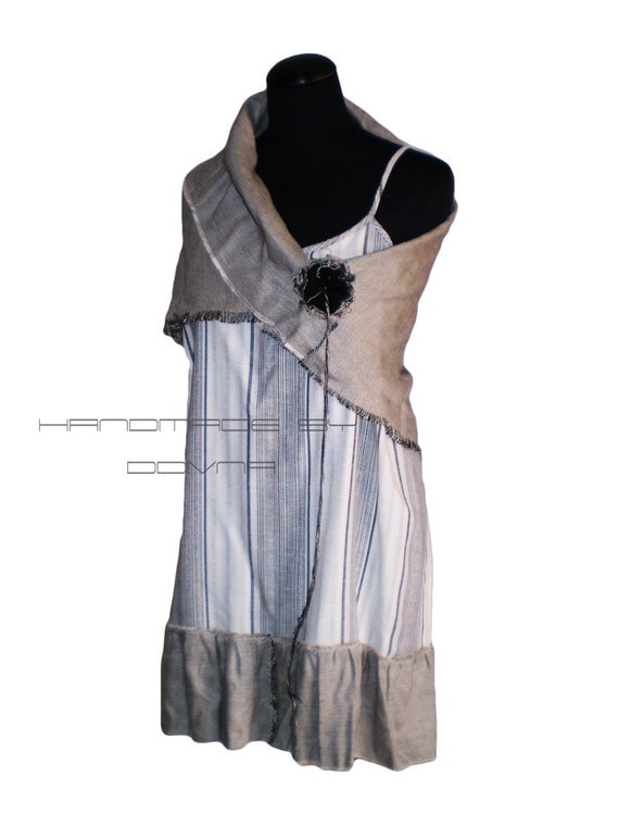 Linen summer tunic-dress with  a scarf and brooch