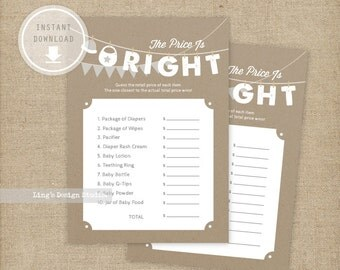 The Price Is Right Game Card - Hanging Baby Clothes Lines Baby Shower |  Instant Download